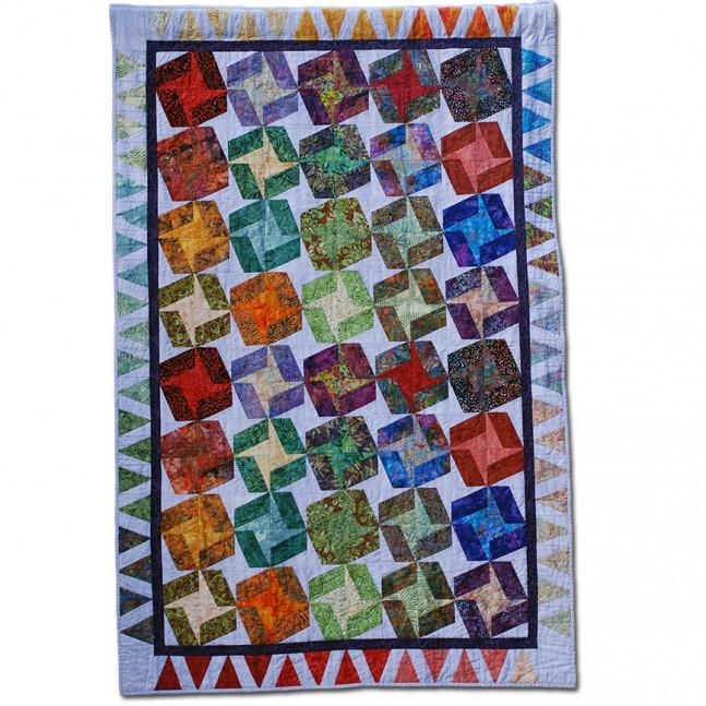Manta de siesta acolchada a máquina de 1,22 x 1,84 m diseño básico con telas batik.